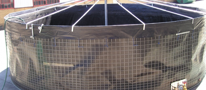 Mesh reservoir roof structure