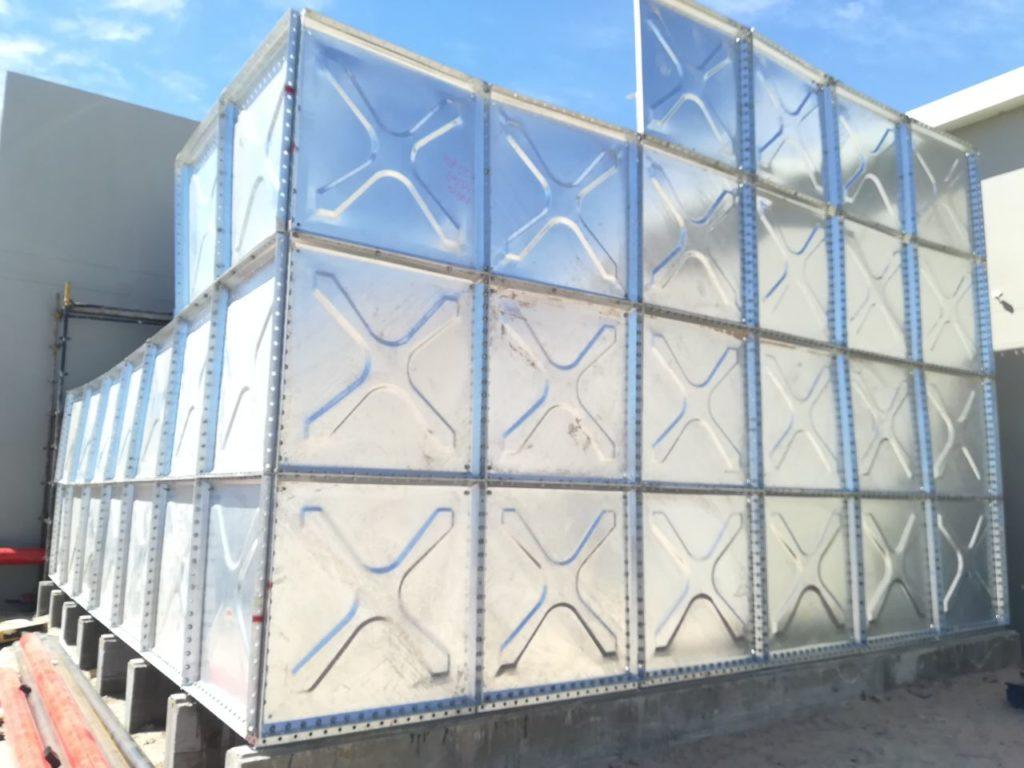 Pressed steel panel tank