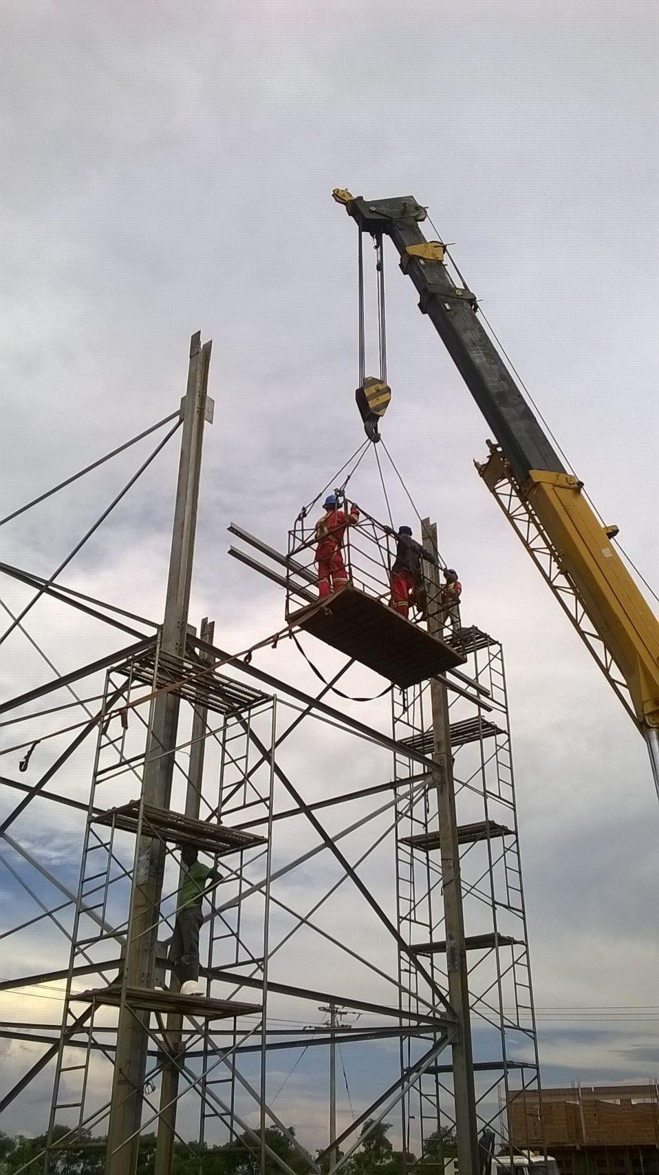 Pressed steel water tower structur